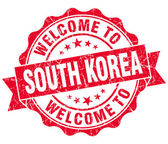 Welcome to South Korea red grungy vintage isolated seal — Stock Photo