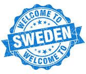 ¡ bienvenido a sello aislado vintage grungy suecia azul — Foto de Stock