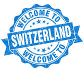 Welcome to Switzerland blue grungy vintage isolated seal — Stock Photo