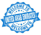 Welcome to United Arab Emirates blue grungy vintage isolated seal — Stockfoto