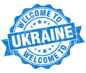 Welcome to Ukraine blue grungy vintage isolated seal — Foto Stock