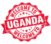 Welcome to Uganda red grungy vintage isolated seal — Stock Photo