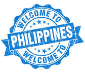Welcome to Philippines blue grungy vintage isolated seal — Foto Stock