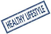 健康的生活方式蓝色方形又脏又臭的邮票孤立的白色背景上 — 图库照片