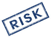 Risk blue square grungy stamp isolated on white background — Stock Photo