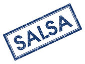 Salsa blue square grungy stamp isolated on white background — Photo
