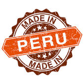 Made in Peru vintage stamp isolated on white background — Vector de stock