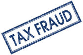 Tax fraud blue square grungy stamp isolated on white background — Stock Photo