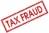 Tax fraud red square grungy stamp isolated on white background — Stock Photo