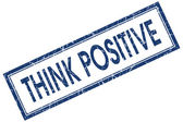Think positive blue square grungy stamp isolated on white background — Stock Photo