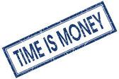 время-деньги, синий квадрат шероховатый штамп, изолированные на белом фоне — Стоковое фото
