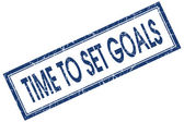 Time to set goals blue square grungy stamp isolated on white background — Stock Photo