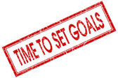 Time to set goals red square grungy stamp isolated on white background — Stock Photo