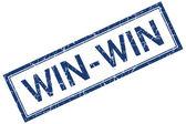 Ganar-ganar azul estampilla cuadrada grungy aislado sobre fondo blanco — Foto de Stock