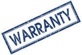 Warranty blue square grungy stamp isolated on white background — Stock Photo