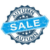 Autumn sale grungy stamp isolated on white background — Vecteur