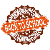 Back to school grungy stamp isolated on white background — Stockvector