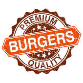 Burgers grungy stamp isolated on white background — Vector de stock