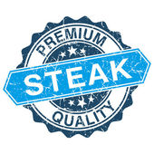 Steak grungy stamp isolated on white background — ストックベクタ
