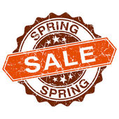 Spring sale grungy stamp isolated on white background — Stockvector