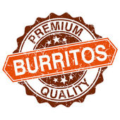 Burritos grungy stamp isolated on white background — Vector de stock