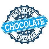 Chocolate grungy stamp isolated on white background — Stockvektor