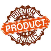 Premium quality product grungy stamp isolated on white background — Stockvektor