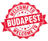Welcome to Budapest red vintage isolated seal — Stock Photo