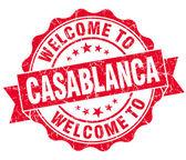 Willkommen Sie bei Casablanca rot Vintage isoliert Siegel — Stockfoto