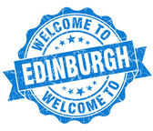Welcome to Edinburgh blue vintage isolated seal — Stock Photo