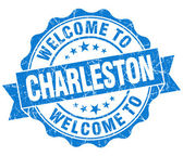 Welcome to Charleston blue vintage isolated seal — Foto de Stock