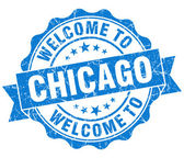 Welcome to Chicago blue vintage isolated seal — Photo