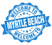 Welcome to Myrtle Beach blue vintage isolated seal — Stock Photo