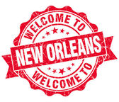 Welcome to New Orleans red vintage isolated seal — Stock Photo