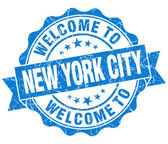 Welcome to New York City blue vintage isolated seal — Stock Photo