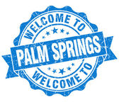 Welcome to Palm Springs blue vintage isolated seal — Stock Photo