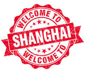 Welcome to Shanghai red vintage isolated seal — Stock Photo