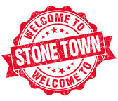 Welcome to Stone Town red vintage isolated seal — Stockfoto
