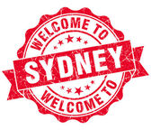 Welcome to Sydney red vintage isolated seal — Stockfoto