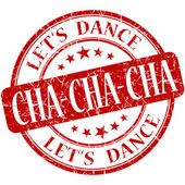 Cha cha cha red vintage grungy isolated round stamp — Photo