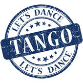 Tango blue vintage grungy isolated round stamp — Photo