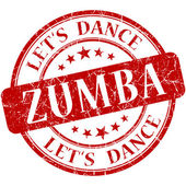 Zumba red vintage grungy isolated round stamp — Stock Photo