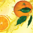 Stock Photo: Oranges and yellow background