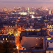 Violet panorama of the city — Stock Photo