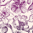 Seamless pattern with purple flowers — Stock Photo