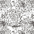 Pattern with black flowers on a white background — Стоковая фотография