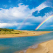 Stock Photo: Panoramic view of nature with rainbow