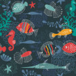 Stylized print with the underwater world — Stock Photo