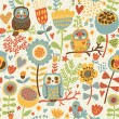 Floral seamless pattern with owl and bird — Stok Vektör