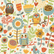 Floral seamless pattern with owl and bird - Stock Vector